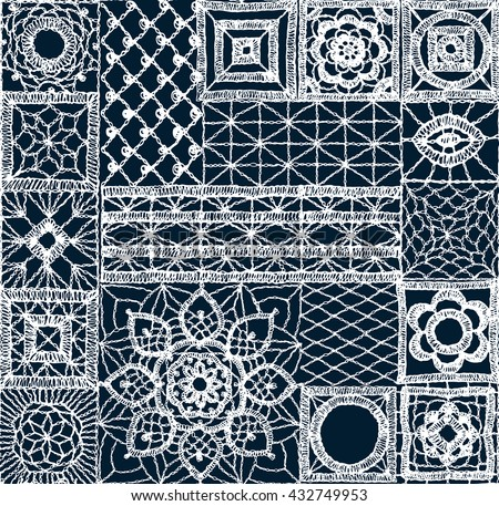 Set Patchwork Knitted New Years Snowflake Stock Vector Royalty Free
