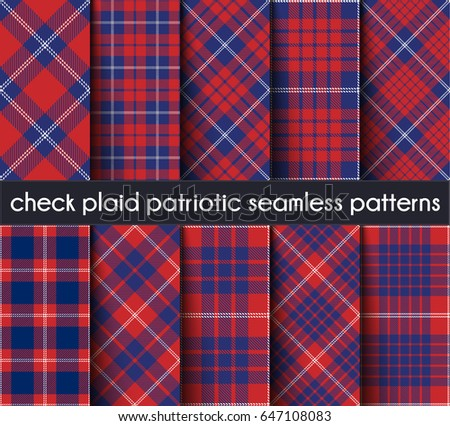Set patriotic check plaid seamless pattern stock vector for Red white and blue plaid shirt