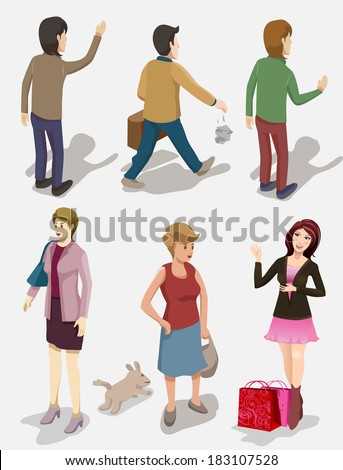 set people isometric. musician play guitar with two position - stock vector
