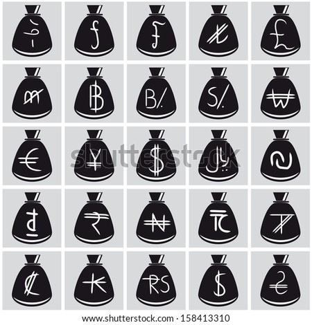 Set pf hand freehand currency symbols on a simple money bag - stock vector