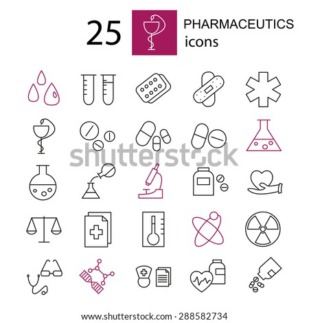 Set  pharmaceutics and medical icon.
