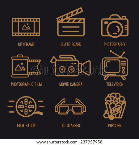 Set photo and video icons. Camera, film, TV, popcorn, 3D glasses - stock vector
