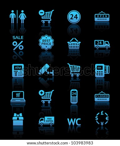 Set pictogram supermarket services, shopping blue icons