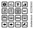 Set pictograms. Car services. Gas station. Symbols Roadside services. Black - stock vector