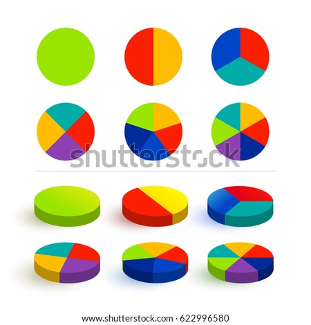 Set pie chart, graphs in 1,2,3,4,5,6 segments. Colorful icons. Segmented circles. Vector illustration. Isolated on white background