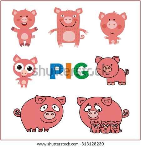 Set pigs. Cartoon pigs. Collection isolated pigs on white background. Funny and cute pigs. Mother, father and child pigs. - stock vector