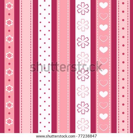 Set pink ribbon. Vector illustration. - stock vector