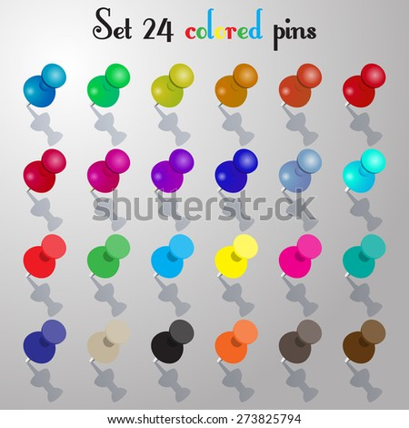 Set pins colored vector illustration - stock vector