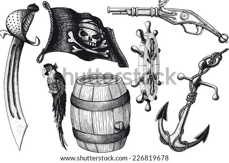set Pirate attributes. Armament, parrot, flag and other - stock vector