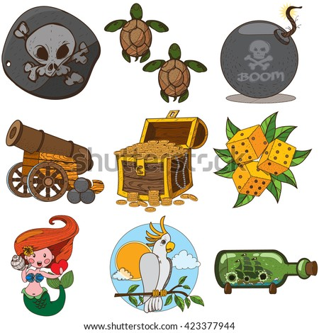 Set pirate things. Pirate black mark, sea turtle, dice, bomb, cannon, mermaid, parrot, treasure chest. - stock vector
