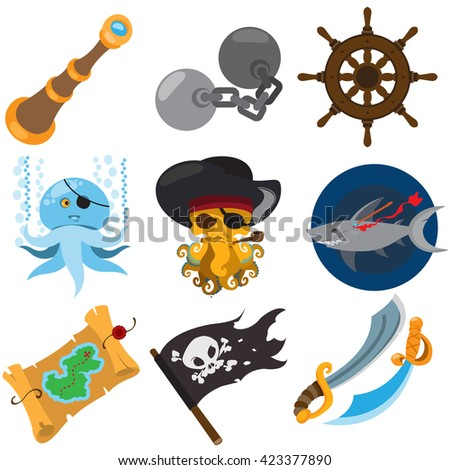 Set pirate things. Spyglass, octopus, irons, steering wheel, treasure map, jolly roger flag, shark, sword. - stock vector