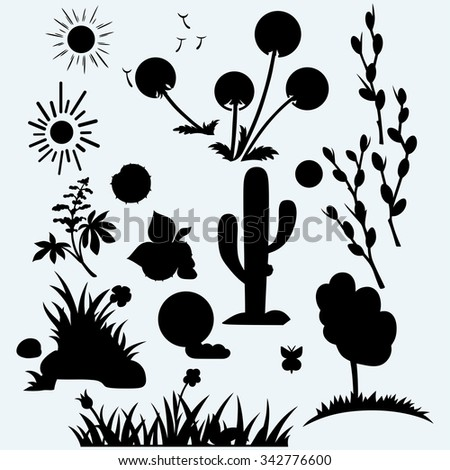Set plants. Grass with flowers, dandelions, horse-chestnut, cactus in desert and pussy willow branches. Isolated on blue background. Vector silhouettes - stock vector