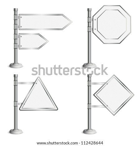 Set Poles with Blank Traffic Signs, isolated on white background, vector illustration - stock vector