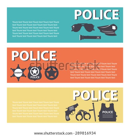 set police protection staff equipment On flat style banners concept. Vector illustration for template infographic, web and mobile applications - stock vector