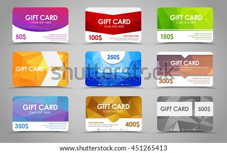 Gift card design stock images royalty free images vectors set polygonal gift cards of different values templates multicolored geometric with rounded corners negle Gallery