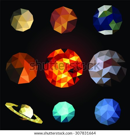 Set polygonal planets. Abstract planets low poly, vector illustration.