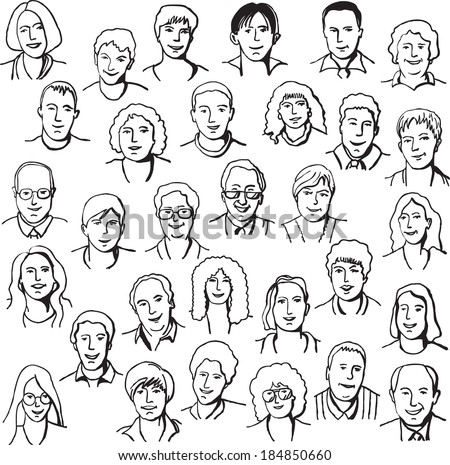 Set portrait business people draw line black white - stock vector