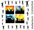 Set posters for sports championships and music concerts. - stock photo