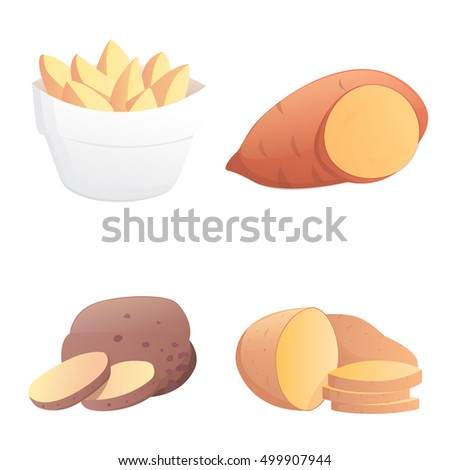 Set Potatoes vector illustration. Isolated potato on white background.