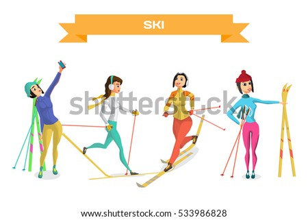 Set pretty young women on cross country skiing on isolated background. Flat cartoon vector illustration