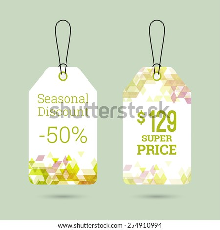 Set price tag with color triangle and labels. special offer, discount and percentages, price. spring banner - stock vector