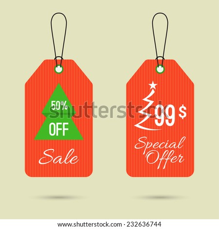 Set price tag with ribbons and labels. special offer, holiday discount and. Christmas tree, Christmas discounts 50% off - stock vector