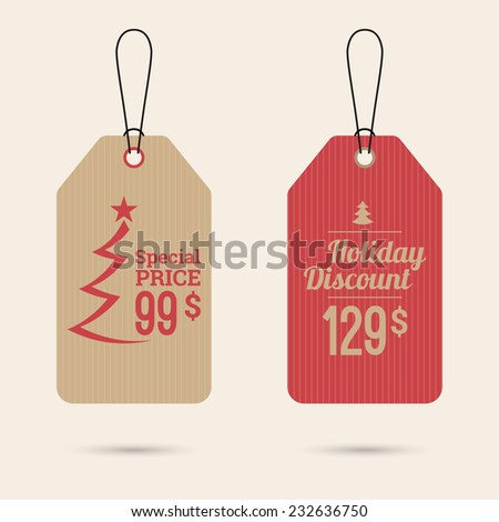 Set price tag with ribbons and labels. special price, holiday discount and. Christmas tree, Christmas discounts - stock vector