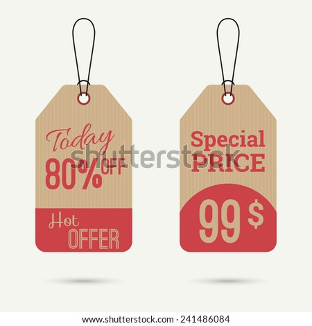 Set price tag with ribbons and labels.today 80% off, special price, hot offer banner - stock vector