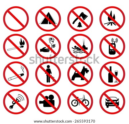 Set Prohibited Signs - stock vector