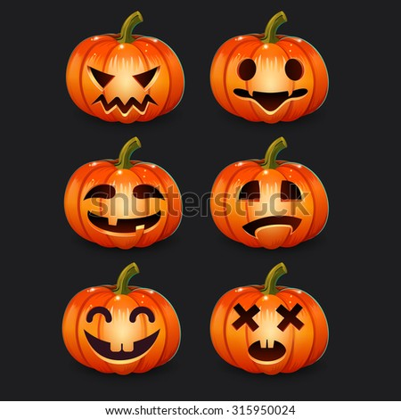 Set pumpkins emotions for Halloween - stock vector
