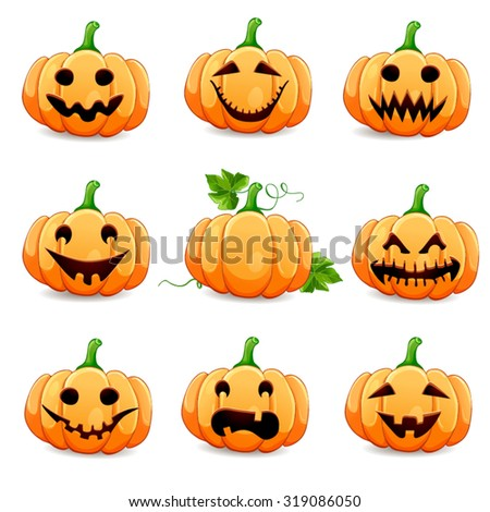 Set pumpkins for Halloween isolated on white  - stock vector