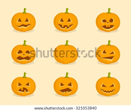 Set Pumpkins for Halloween vector illustration - stock vector