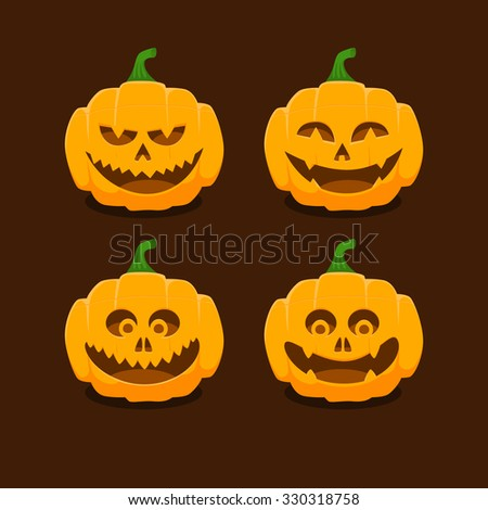 Set pumpkins with different facial expressions for Halloween - stock vector
