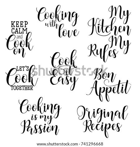 Quotes Tea Typography Set Calligraphy Hand Stock Vektorgrafik 449578651 Shutterstock