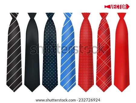 Set realistic colorful neckties. - stock vector