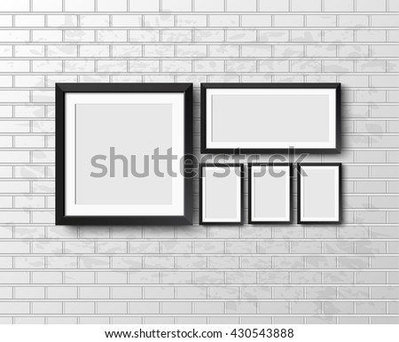 Set Realistic frame on light grunge brick wall. Perfect for your presentations. frame for your projects. Vector illustration