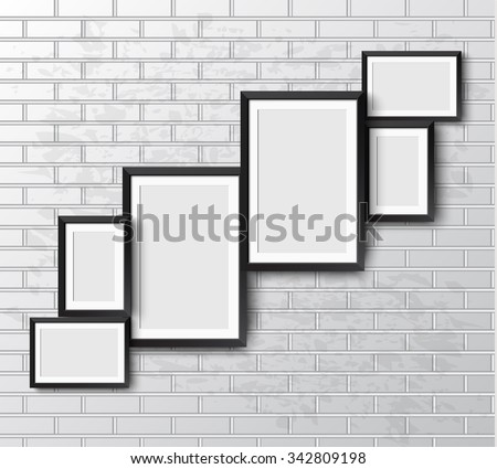 Set Realistic frame on White grunge brick wall. Perfect for your presentations.  frame for your projects.  Vector illustration