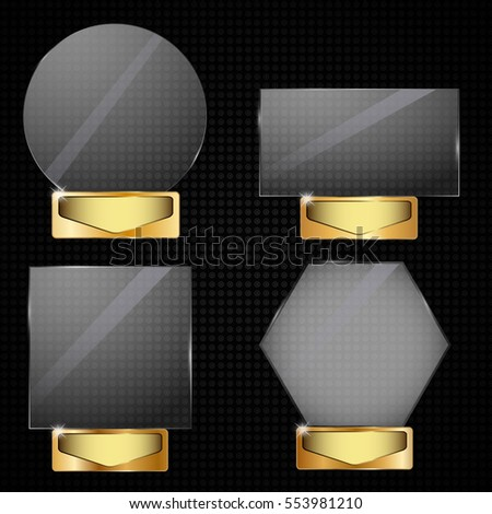 Set Realistic glass vector trophy awards