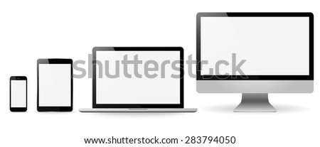 Set realistic Monitors laptop tablet and phone vector illustration - stock vector