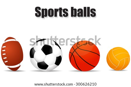 Set realistic of balls illustration - stock vector