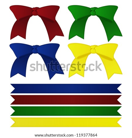 set realistic of color bows and ribbons - stock vector