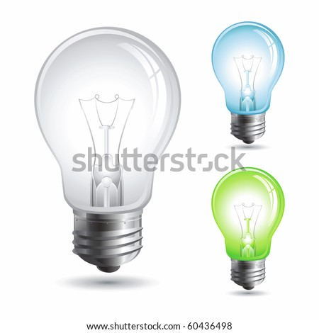 Set realistic vector illustration of a light bulb isolated on white - stock vector