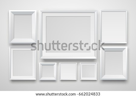 set realistic white frame on white wall vector illustration template for your design - White Picture Frame