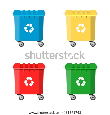 Set Recycle Bins for Trash and Garbage Isolated on White Background. Waste management concept. Vector illustration in flat design