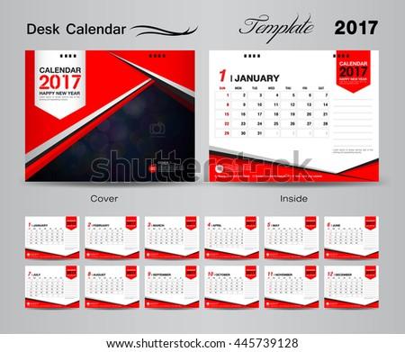 Set Blue Desk Calendar 2017 Vector Stock Vector 445739113 ...