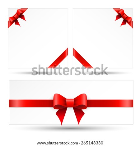 Set red gift bows with ribbons - stock vector
