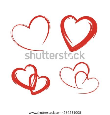 Set red heart  - stock vector