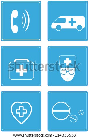 set red icons - medical buttons - stock vector