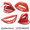 Set Red lips - Vector Illustration - stock vector