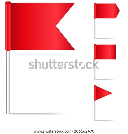 Set red pin flags isolated on white - stock vector